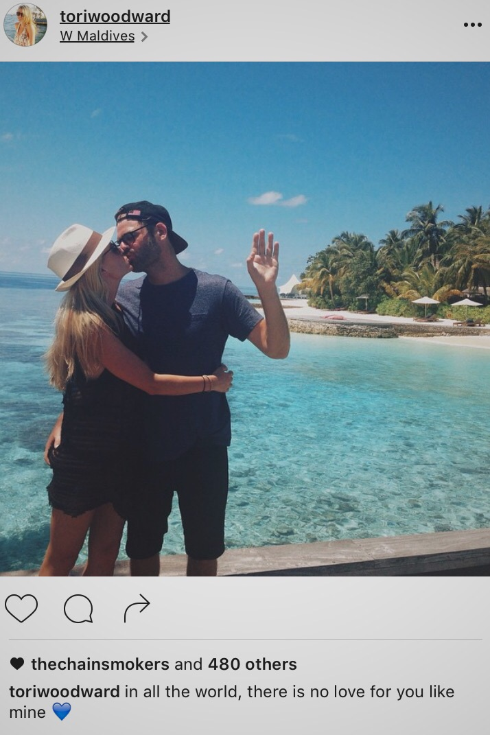 Romantically linked boyfriend and girlfriend: Alex Pall and Tori Woodward sharing a passionate kiss